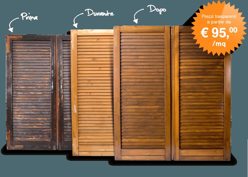 Restauro persiane in legno a milano monza brianza e bergamo - Restauro finestre in legno prezzi ...